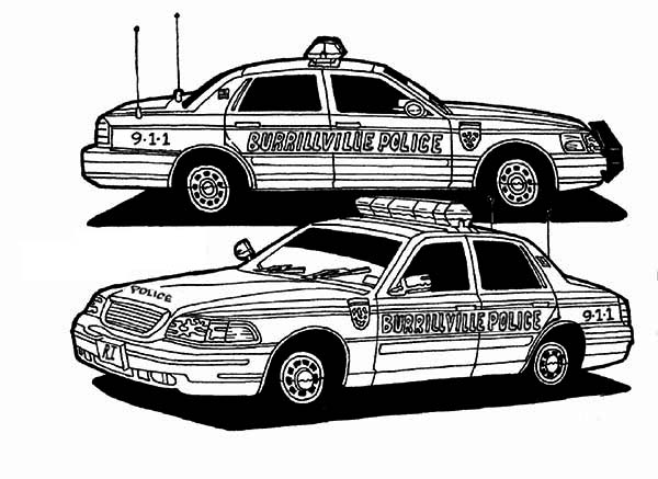 Police Car, : Two Awesome Police Car Coloring Page