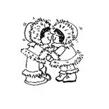 Eskimo, Two Eskimo Little Girl Coloring Page: Two Eskimo Little Girl Coloring Page