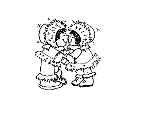 Eskimo, : Two Eskimo Little Girl Coloring Page