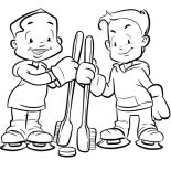Dental Health, Two Kids Holding Tooth Brush In Dental Health Coloring Page: Two Kids Holding Tooth Brush in Dental Health Coloring Page