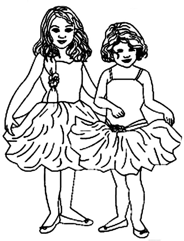 Ballerina, : Two Little Ballerina Coloring Page