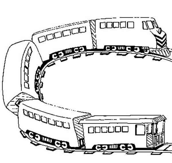 Railroad, : U Turn on Railroad Coloring Page