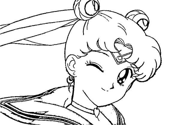 Sailor Moon, : Usagi Tsukino Winking Eye in Sailor Moon Coloring Page