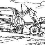 Digger, VTN Tractor Filling Truck With Dirt In Digger Coloring Page: VTN Tractor Filling Truck with Dirt in Digger Coloring Page