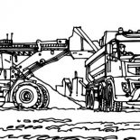 Digger, VTN Tractor Working In Digger Coloring Page: VTN Tractor Working in Digger Coloring Page