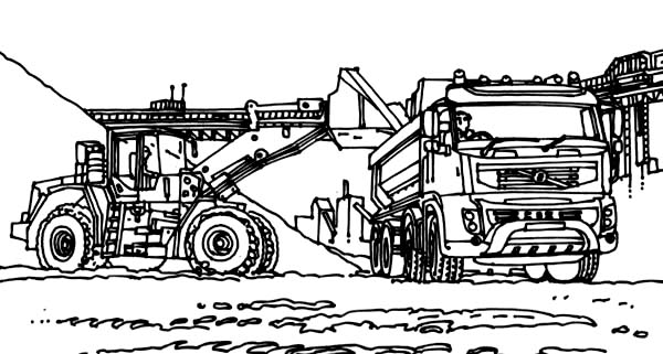 Digger, : VTN Tractor Working in Digger Coloring Page