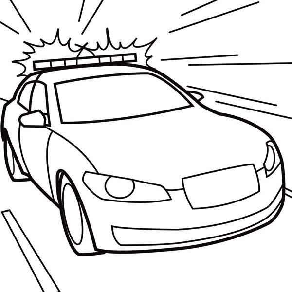 Police Car, : Wailing Sirene on Police Car Coloring Page