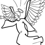 Angels, Winged Angels With Halo Blowing Trumpet Coloring Page: Winged Angels with Halo Blowing Trumpet Coloring Page