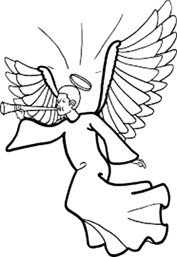 Angels, : Winged Angels with Halo Blowing Trumpet Coloring Page