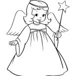 Angels, Winged Angels With Magic Wand Coloring Page: Winged Angels with Magic Wand Coloring Page