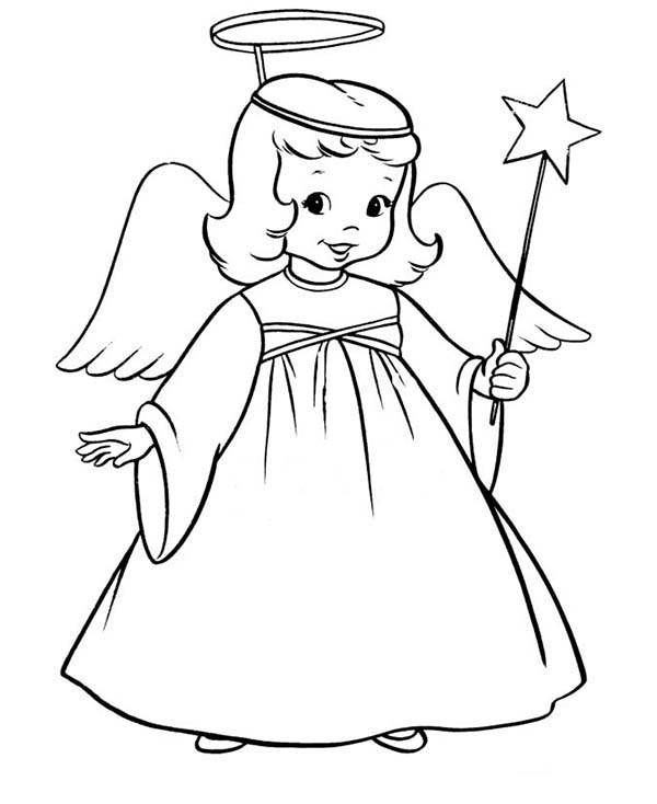 Angels, : Winged Angels with Magic Wand Coloring Page