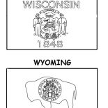State Flag, Wisconsin And Wyoming State Flag Coloring Page: Wisconsin and Wyoming State Flag Coloring Page