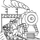 Railroad, Worker Checking For Railroad Safety Coloring Page: Worker Checking for Railroad Safety Coloring Page