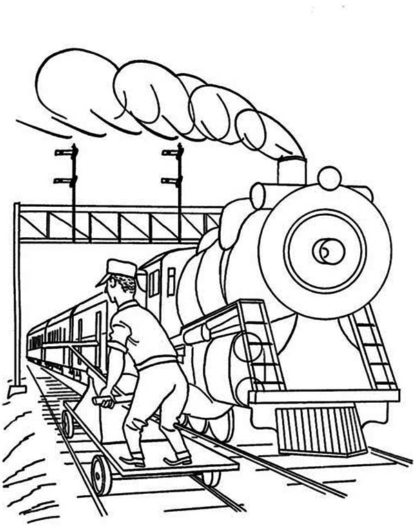 Worker Checking For Railroad Safety Coloring Page Color Luna