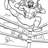 Wrestling, Wrestler Jump From Wrestling Ring Coloring Page: Wrestler Jump from Wrestling Ring Coloring Page