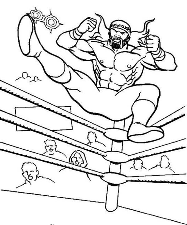 Wrestling, : Wrestler Jump from Wrestling Ring Coloring Page