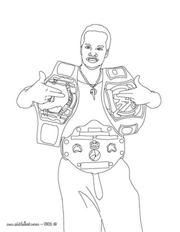 Wrestling, : Wrestler with Two Wrestling Champion Belt Coloring Page