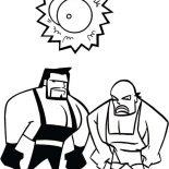 Wrestling, Wrestling Athlete And A Bell Coloring Page: Wrestling Athlete and a Bell Coloring Page
