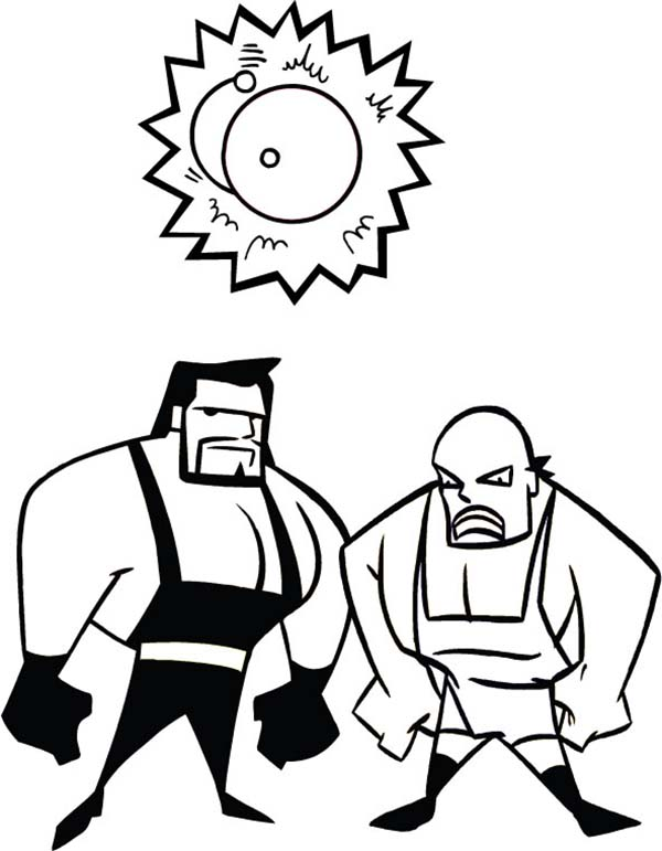 Wrestling, : Wrestling Athlete and a Bell Coloring Page