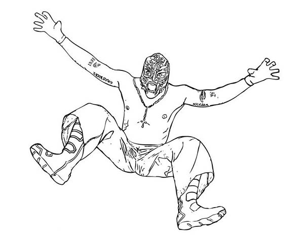 Wrestling Opponent Rey Mysterio Coloring Page Color Luna