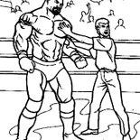 Wrestling, Wrestling Referee Cornered A Wrestler Coloring Page: Wrestling Referee Cornered a Wrestler Coloring Page