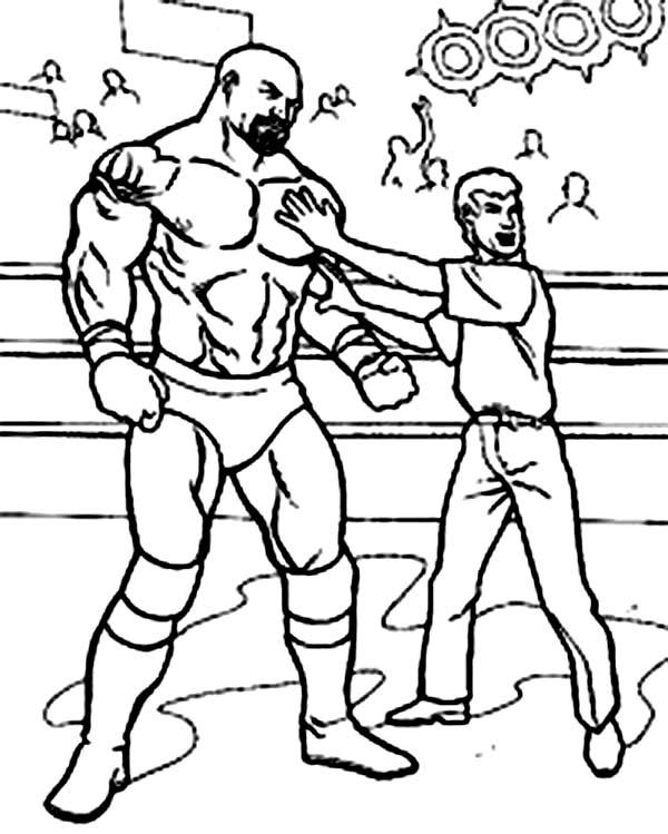 Wrestling Referee Cornered A Wrestler Coloring Page Color Luna
