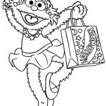 Sesame Street, Zoe And Bag Full Of Candy In Sesame Street Halloween Coloring Page: Zoe and Bag Full of Candy in Sesame Street Halloween Coloring Page
