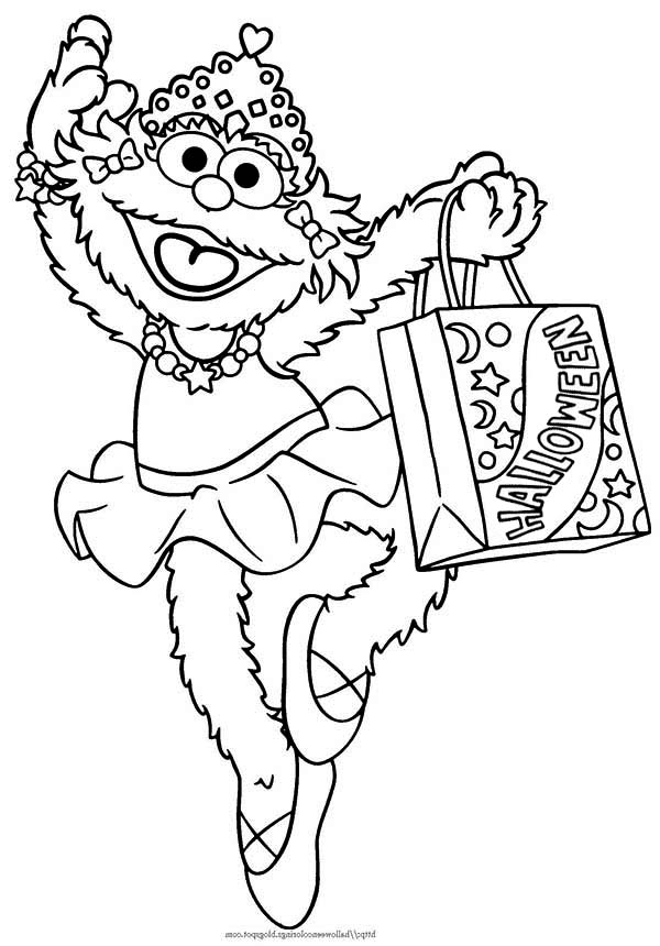 Sesame Street, : Zoe and Bag Full of Candy in Sesame Street Halloween Coloring Page