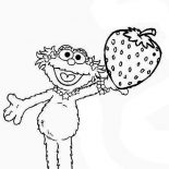 Sesame Street, Zoe With Sweet Strawberry In Sesame Street Coloring Page: Zoe with Sweet Strawberry in Sesame Street Coloring Page