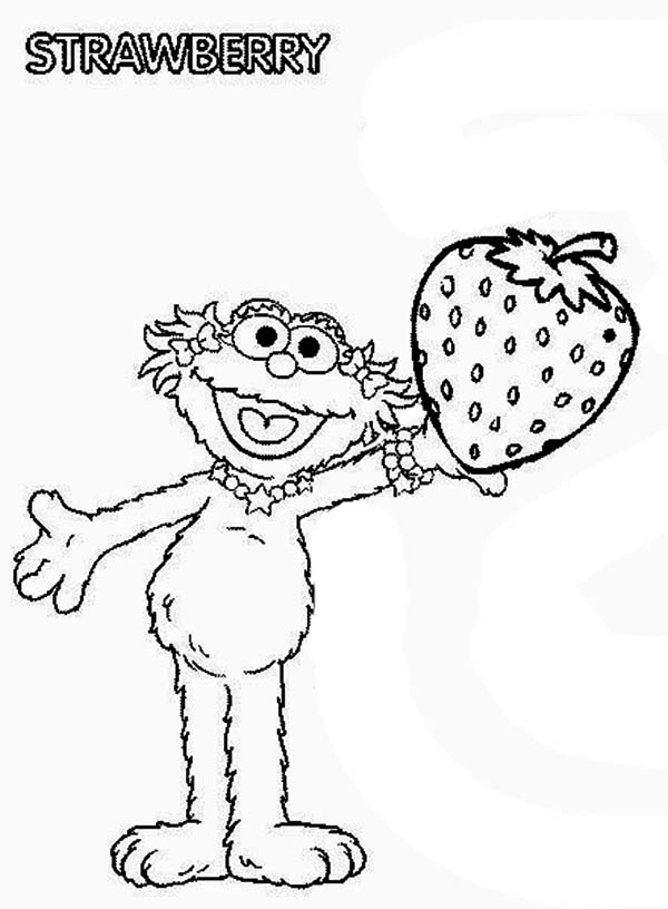 Sesame Street, : Zoe with Sweet Strawberry in Sesame Street Coloring Page