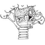 Treehouse, A Boy Playing Pirate On Treehouse Coloring Page: A Boy Playing Pirate on Treehouse Coloring Page