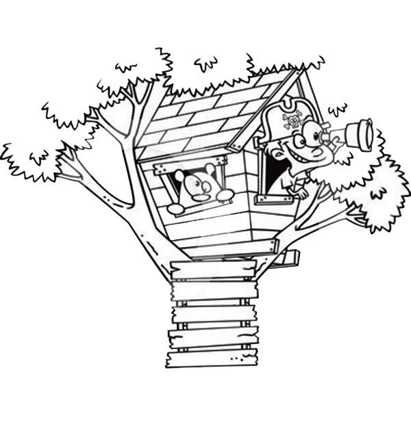 A Boy Playing Pirate On Treehouse
