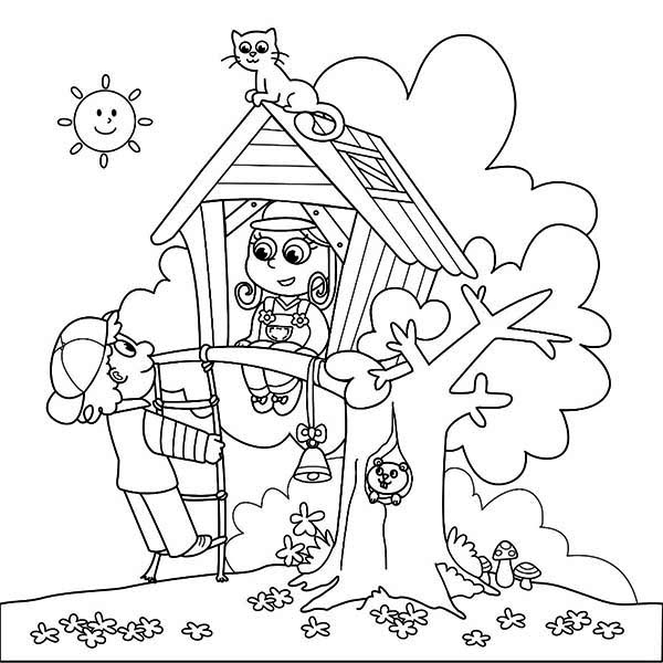 Treehouse, : A Boy and a Girl Playing on Treehouse woth Cat and Squirrel Coloring Page