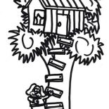 Treehouse, A Dog Climb A Treehouse Coloring Page: A Dog Climb a Treehouse Coloring Page