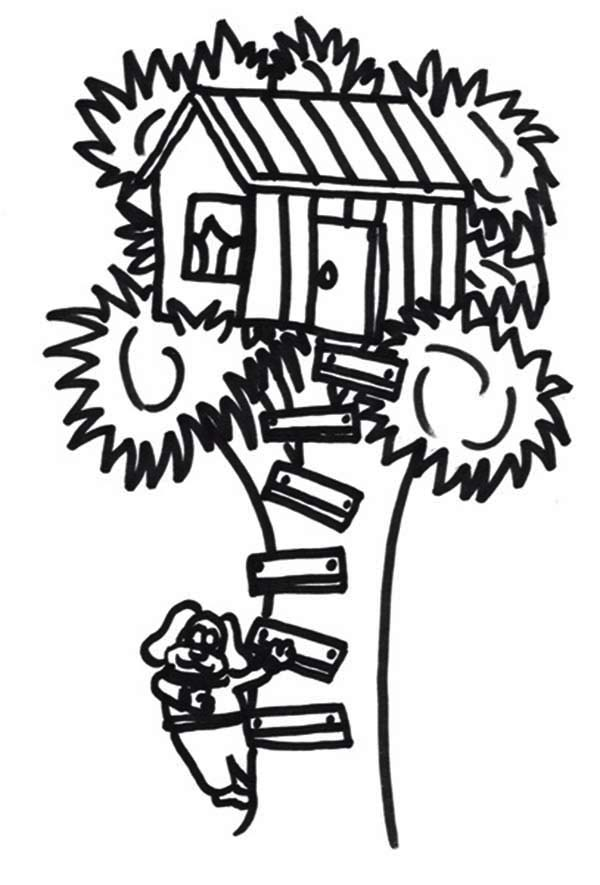 Treehouse, : A Dog Climb a Treehouse Coloring Page