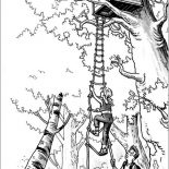 Treehouse, A Girl Climbing A Treehouse Coloring Page: A Girl Climbing a Treehouse Coloring Page