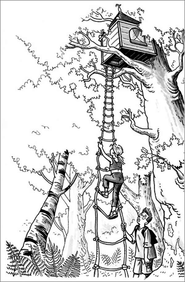 Treehouse, : A Girl Climbing a Treehouse Coloring Page
