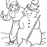 Snowman, A Girl And Snowman Coloring Page: A Girl and Snowman Coloring Page