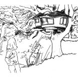 Treehouse, Amazing Drawing Of A Treehouse Coloring Page: Amazing Drawing of a Treehouse Coloring Page