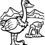 Ostrich, Awesome Drawing Ostrich Coloring Page: Awesome Drawing Ostrich Coloring Page