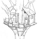 Treehouse, Awesome Treehouse Coloring Page: Awesome Treehouse Coloring Page
