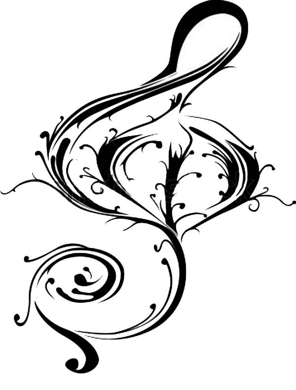 Treble Clef, : Beautiful Vector of Treble Clef Coloring Page