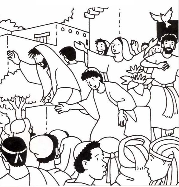 Pentecost, : Birthday of the Church in Pentecost Coloring Page