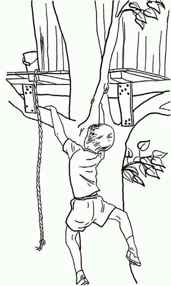 Boy Climb His Treehouse Without A Rope Coloring Page