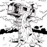 Treehouse, Boy Hanging On Monster Treehouse Coloring Page: Boy Hanging on Monster Treehouse Coloring Page