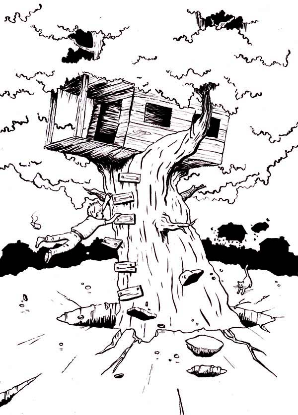 Treehouse, : Boy Hanging on Monster Treehouse Coloring Page