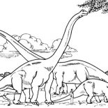 Brachiosaurus, Brachiosaurus Colony Eating From Tree Branch Coloring Page: Brachiosaurus Colony Eating from Tree Branch Coloring Page