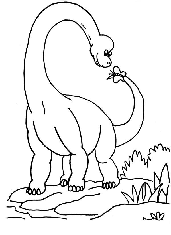 Brachiosaurus, : Brachiosaurus Play with Butterfly Coloring Page