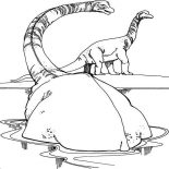 Brachiosaurus, Brachiosaurus Taking Bath Coloring Page: Brachiosaurus Taking Bath Coloring Page