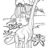 Brachiosaurus, Brachiosaurus In The Jungle Coloring Page: Brachiosaurus in the Jungle Coloring Page